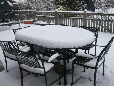 Металлическая мебель зимой