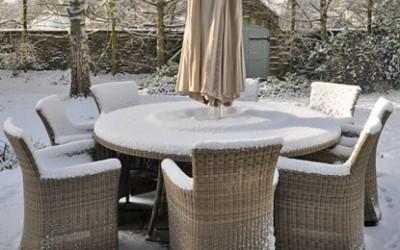 Ротанговая мебель зимой